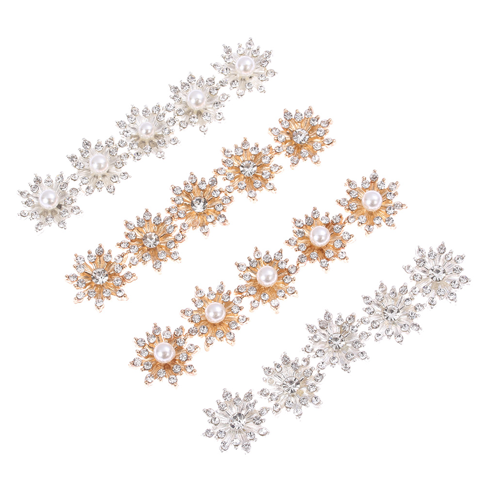 Plating Pearl Buckle Snowflake Buttons Apparel Sewing Rhinestone Button