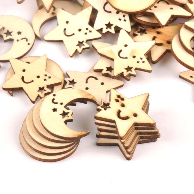 24-27mm 25Pcs Wooden Ornament Moon And Star Pattern For DIY Crafts Scrapbook Accessories Handmade Wood Slices Home Decor M1704