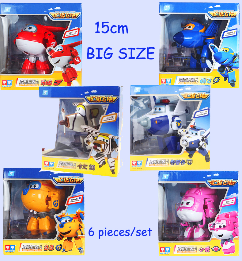 Big!! 6 pcs/set Super Wings Transformation Deformation Airplane Robot Action Figures, child Toys Gift superwings