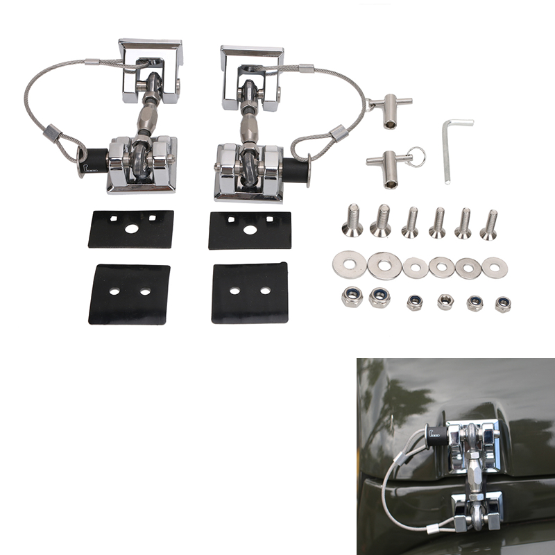 2x For Jeep Engine Hood Lock Latches with Key Locking Catch Kit for Jeep Wrangler JK Sahara Freedom Rubicon 2007-2017 #CEK074-S left hand a pillar swith panel pod kit with 4 led switch for jeep wrangler 2007 2015