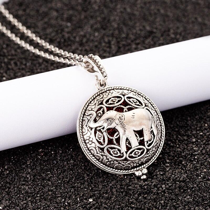 Aroma Diffuser Elephant Necklace Open Lockets Pendant Perfume Essential Oil Locket to send Chain length 60cm+1pcs mat F18 locket