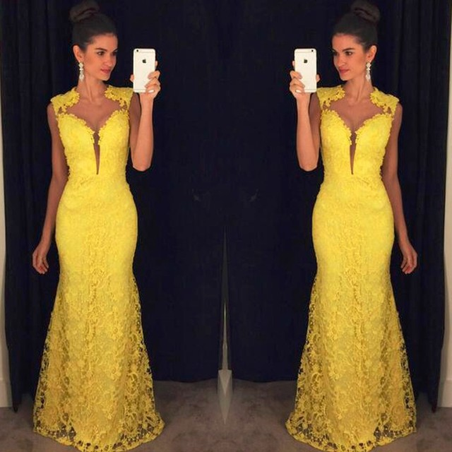 7008d4ee7 Yellow Lace Long fitted Prom Dress Elegant Vestido De Festa Mermaid Long  Party Dresses Sleeveless vestidos