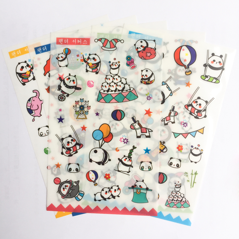 6 Sheets /Pack Kawaii Panda Stickers Adhesive Craft Decor Stick Label Phone Notebook Diary Decorative Student Stationery