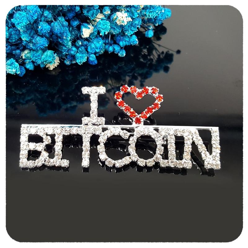 Blingbling Crystal Brooch Handmade Gift I Love BITCOIN Word Pin to Bitcoin Fans