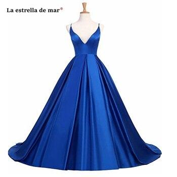 Vestidos de formatura longo 2019 sexy V neck satin Spaghetti Strap backless a Line Royal blue burgundy purple prom dresses