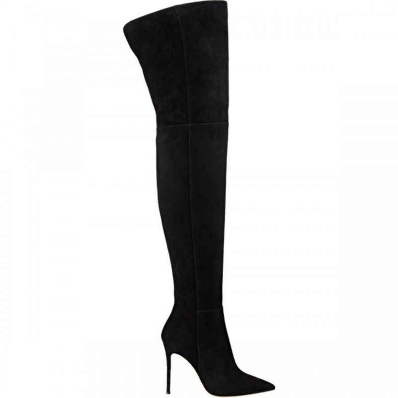 Женские длинные стрейчевые сапоги FEDONAS, серые облегающие сапоги выше колена, обувь на зиму 2019