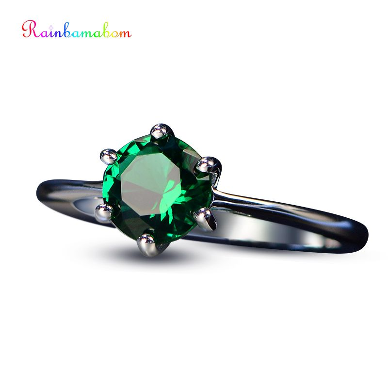Rainbamabom Top Quality 925 Sterling Silver Emerald Gemstone Couple Anniversary Wedding Simple Ring Jewelry Wholesale Size 5-12