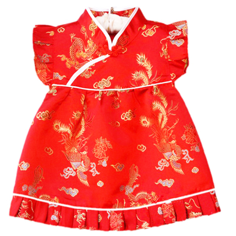 Buenos Ninos Chinese Style Girls Sleeveless Cheongsam Baby Dragon And Phoenix Patterned Cheongsam Cloth Set ...