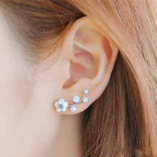 E0321 New Fashion Crystal Earrings For Women Branch Shell Pearl Flower Stud Earrings Female Statement Ear Jewelry Gift Wholesale(China)