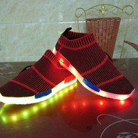 Led Shoes Glowing Fashion Luminous Led Light UP Homme Shoes for Adults Size35 40 2018 New Arrival Superstar Men Casual Shoes