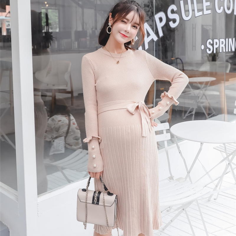 A929# Beading Ties Waist Knitted Maternity Sweaters Dress Autumn Winter Elegant Slim Thin Clothes for Pregnant Women Pregnancy autumn winter new pregnant women sweater thickening slim package hip warm clothing knitted shirt maternity sweaters