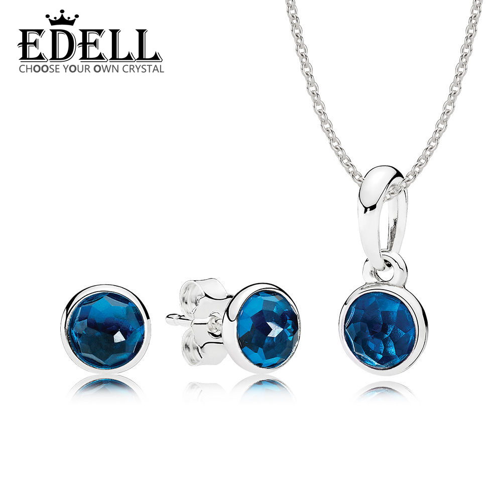 EDELL 100% 925 Sterling Silver RAU0271 December London Blue Droplets Pendant Necklace Stud Earrings Charm Women Gift SetEDELL 100% 925 Sterling Silver RAU0271 December London Blue Droplets Pendant Necklace Stud Earrings Charm Women Gift Set