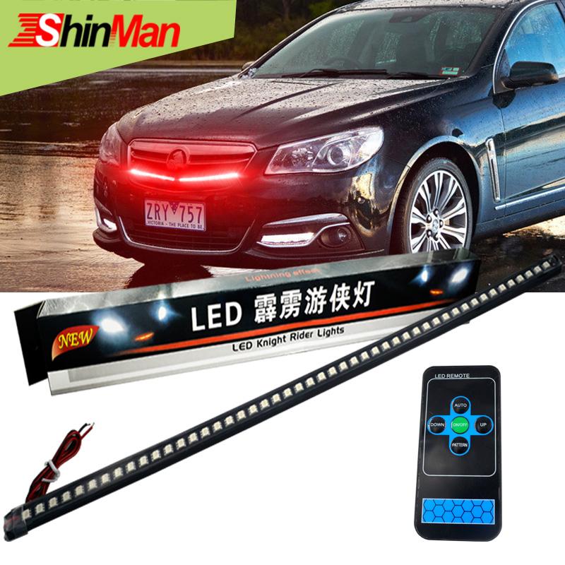 Prix pour 2017 Super Cool Infrarouge télécommande Unique couleur 56 CM 48LED Voiture LED Flexible Knight Rider lightsbar lumière + 3 M glueWaterproof