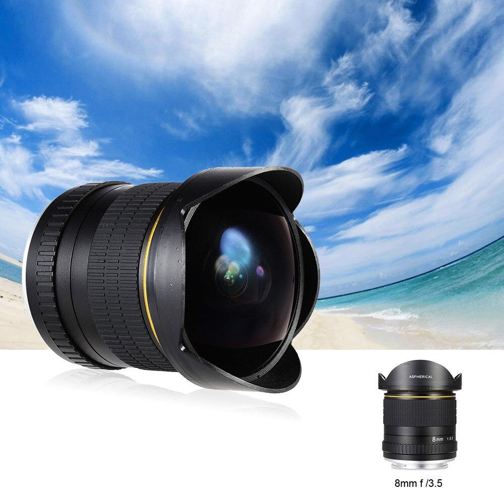 Lightdow 8mm F/3.5 Ultra Large Lentille Fisheye Lentille Asphérique Circulaire Camera Lens pour Nikon DSLR Demi-Trame caméras