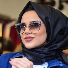 """Негабаритные солнцезащитные очки """"кошачий глаз"""" без оправы, модные градиентные линзы коричневого цвета для женщин, прозрачные металлические солнцезащитные очки класса люкс"""