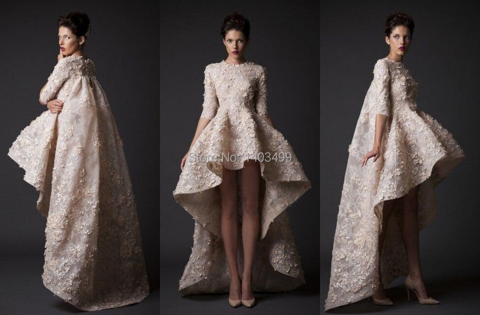 High low wedding dresses gown turtleneck half sleeve lace for Long sleeve high low wedding dresses