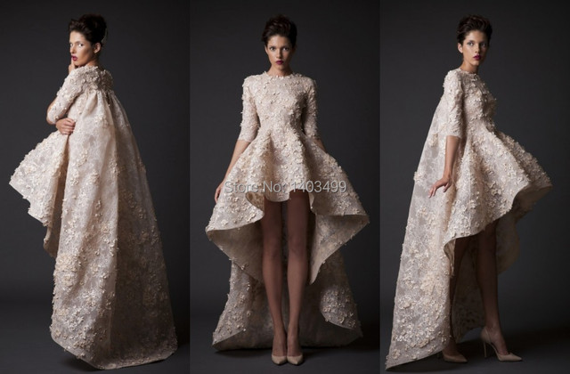 ba6e99eef32c6 High Low Wedding Dresses Gown Turtleneck Half Sleeve Lace Short in Front  and Long in Back Krikor Jabotian Bride Dress 2015