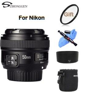 YONGNUO YN 50 мм f/1,8 AF объектив YN50mm диафрагма Автофокус Большая диафрагма для камеры Nikon DSLR as AF-S 50 мм 1,8G + 58 мм УФ-фильтр