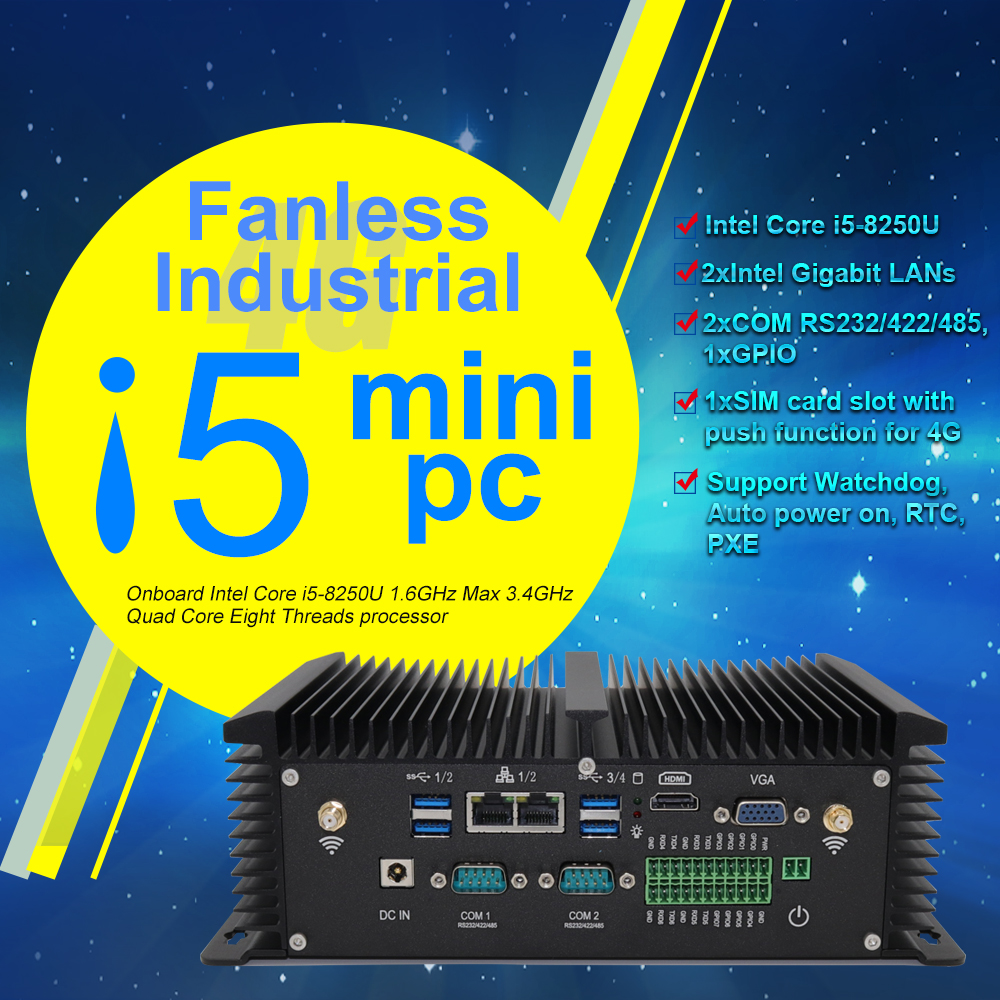 Fanless Industrial Mini PC I5 8250U Quad Core 2*DDR4 2*COM Windows 10 Pro Linux Mini Router Computer Desktop VGA HDMI USB RTC