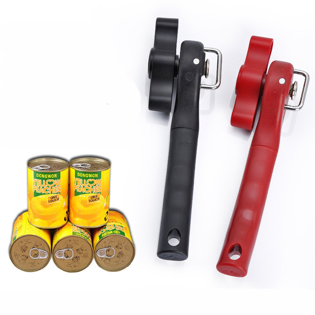 Plastic Professional Kitchen Tool Safety Hand-actuated Can Opener, Side Cut Easy,  Grip Manual Opener Knife for Cans Lid