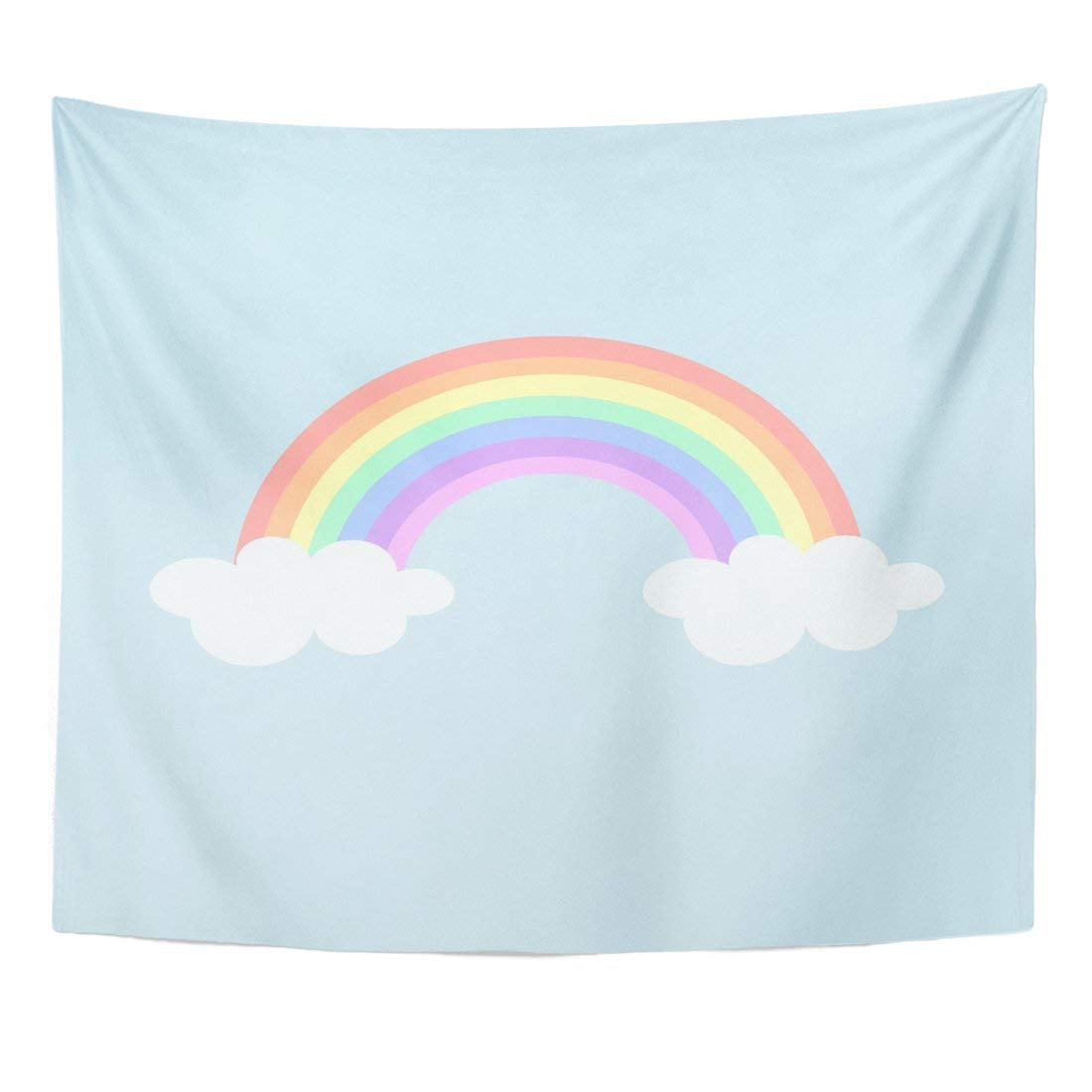 Tapestry Blue Bright Pastel Rainbow And Cloud Cartoon