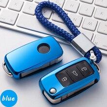 New TPU soft Car key Cover Case Car Key Bag Keychain for Volkswagen Skoda Polo Tiguan Passat MK5 MK6 T5 Beetle Accessories 2017
