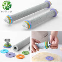 Multifunctional Fondant Cake Pastry Thickness Adjustable Rolling Pins Easy Clean Silicone Rolling Pin Decorating Bakeware Tools