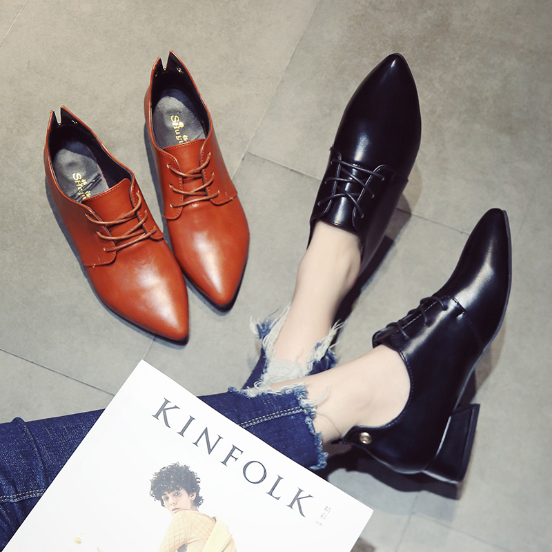 American small leather shoes single shoes spring 2018 new 100 lap Korean version of the tie belt with thick heel women's shoes 2018the new women s patent leather and shoes classic korean version of the classic korean shoes red wedding shoes
