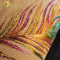 Luxury Gold Home Decor Peacock Feather Embossed 3D Wallpaper Vintage Oil Painting Textured Wall Paper Bar Shop Art Mural Decals