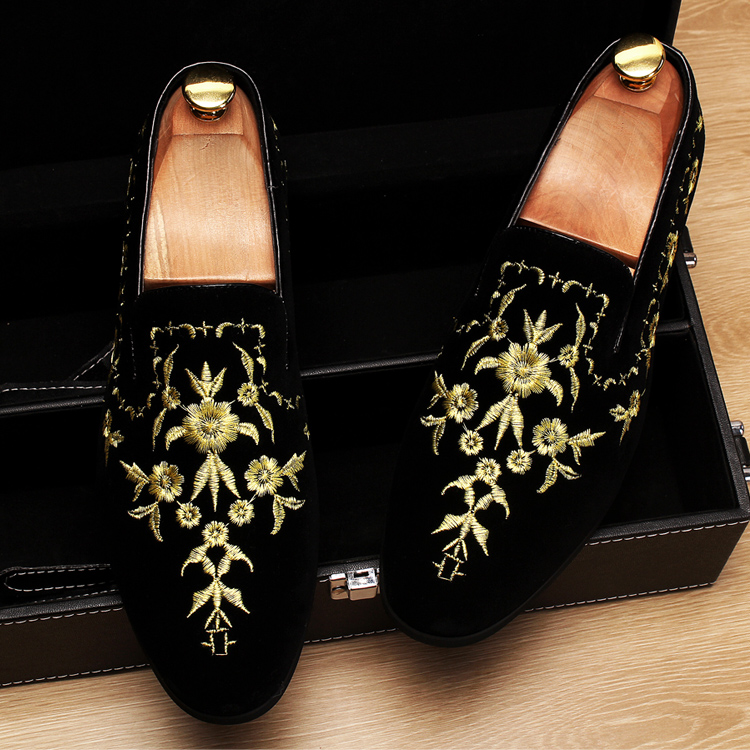 Men 2019 luxury Brand Designer shoes flock velvet Sun flower Embroidery gentleman loafers Dress Wedding driver Italian flats 15