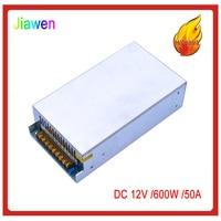 JIAWEN 600W AC 110V / 220V to DC 12V 50A Lighting Transformer Switching Power Supply Silver