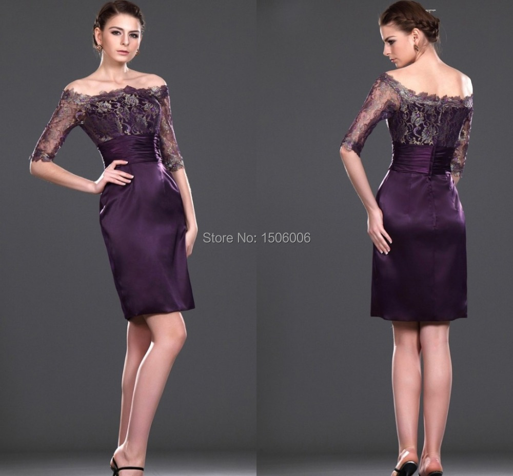 Dark purple knee length sheath half sleeves evening gowns for Purple dresses for weddings knee length