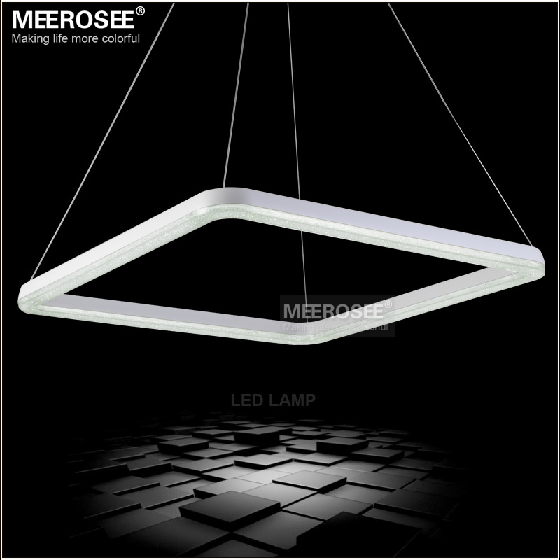 26 Inch Square Led Light Fixture Crystal Pendant Lighting White Re Suspension Drop Lamp In Lights From