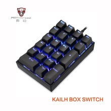 все цены на 2019 New Motospeed K23 USB wired Numeric Mechanical Keyboard with Kailh Box Switch Black Blue LED Backlight 21 Keys laptop онлайн