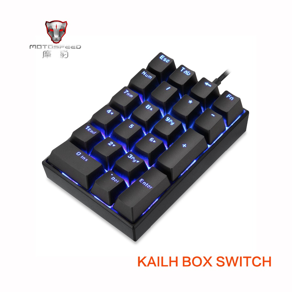 2019 Nova Motospeed K23 USB wired Numeric Teclado Mecânico com Caixa de Interruptor Kailh Preto Azul LED Backlight 21 Chaves laptop