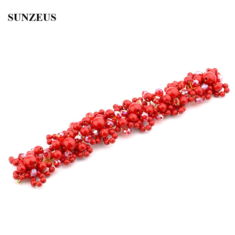 Red Pearls Headband With Crystals Hand-made Gold Metal Headwear Bridal Hair Band Accessory SQ0271