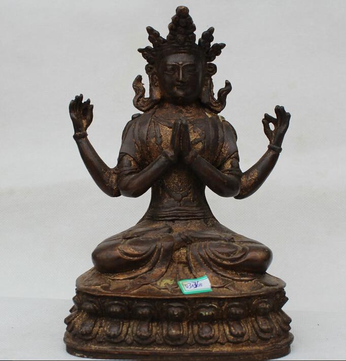 8 Tibet Bronze Buddhism Seat 4 arms Chenrezig Buddha Avalokiteshvara Statue R07118 Tibet Bronze Buddhism Seat 4 arms Chenrezig Buddha Avalokiteshvara Statue R0711