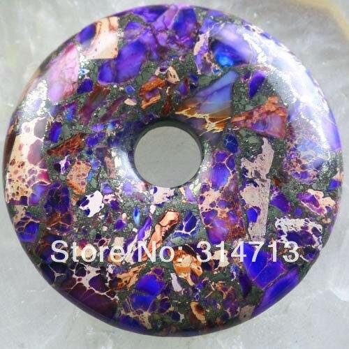 Purple Sea Sediment Stone & Pyrite Donut Pendant Bead 50x8mm SY748