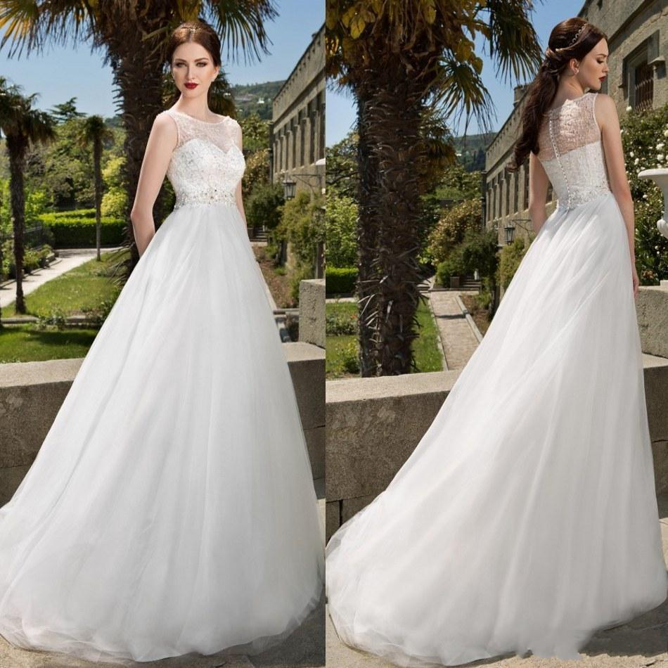 2016 Jewel Neck Beaded Wedding Dresses Vintage Long