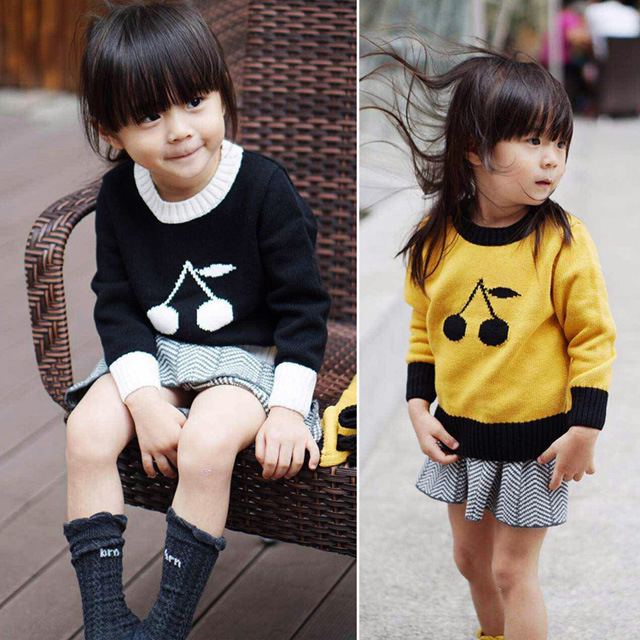 2016 Fashion Kids Sweater Cherry Printed Long Sleeve Pullovers Knitted Boys Girl Sweaters Spring Autumn Toddler Loose Tops H356