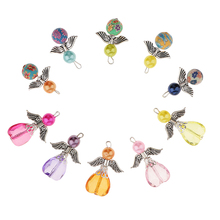 10 Fashion Charms Mixed Dancing Angel Wings Heart Pendants Beaded Pendant for DIY Jewelry Craft Necklace Making accessories vintage metal mixed angel wings charms diy handmade classic accessories fashion charms for jewelry making 100pieces lot