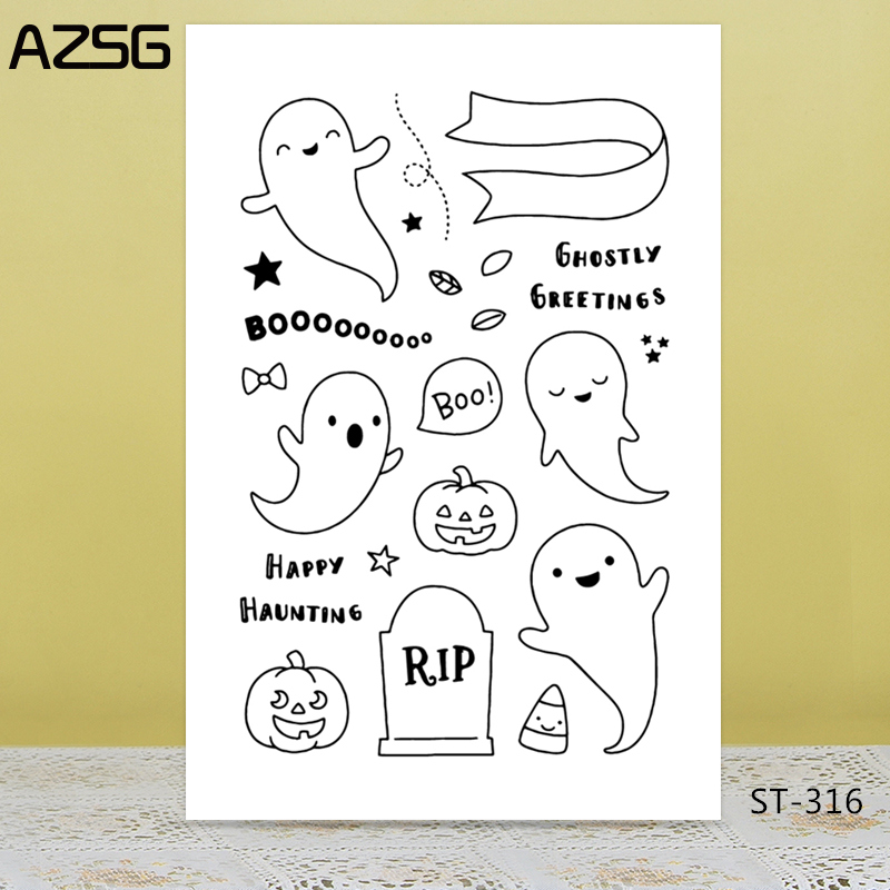 Halloween ghost Transparent Silicone Stamp for DIY Scrapbooking Photo Album Decorative Card Making Clear Stamps Supplies in Stamps from Home Garden