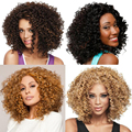1PC New Short wigs For African American Black Women Curl Kanekalon Fiber U Part Wig Natural Curly Wig 200g Free shipping