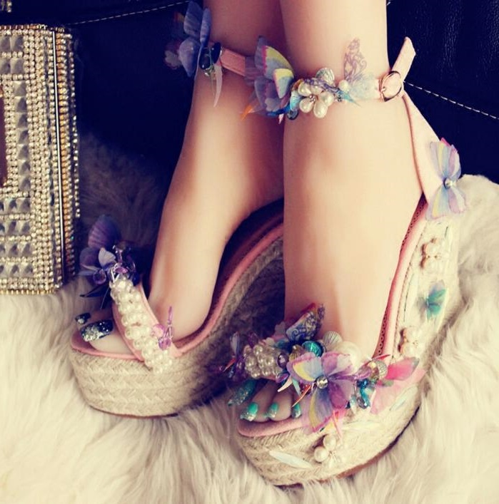 Woman Rope Braided Wedge Sandals Peep Toe Ankle Strap Butterfly knot Summer Sandals 2018 Spring Autumn Dress Shoes Real Photo