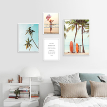 Tree Canvas Paintings Sea Beach Wall Decor Picture Nordic Poster Quote Wall Prints Girl Poster Living Room Art Print Unframed unframed sea wave and beach pattern canvas paintings