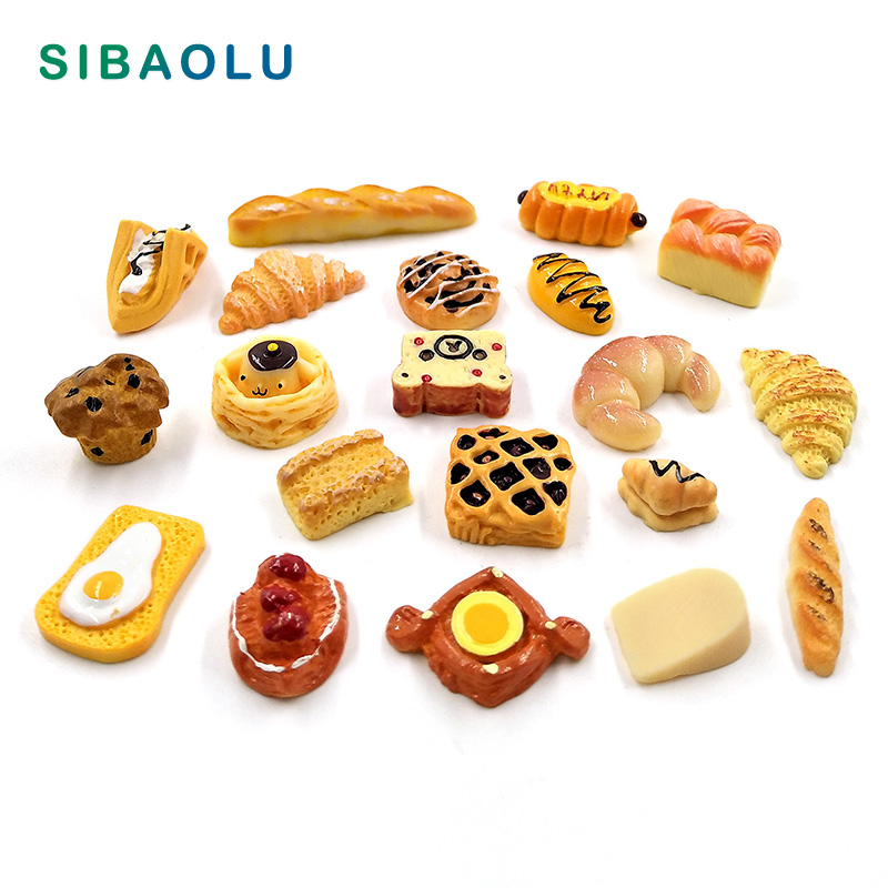 10pcs Artificial Food Cake Snack Bread Party Decoration Mini Model Home Decor Miniature Fairy Take Decoration DIY Accessories