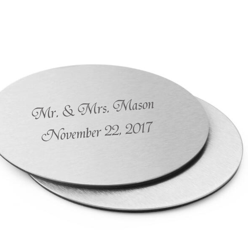 100Pcs 50Set Personalized Wedding Gift For Guests Metal Cup Coaster Set With EVA Glue Cushion Customized