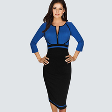 Women Casual Wear To Work Office Business Colorblock Contrast Pencil Dress Elegant Chic Patchwork Slim Fitted Bodycon Dress B235