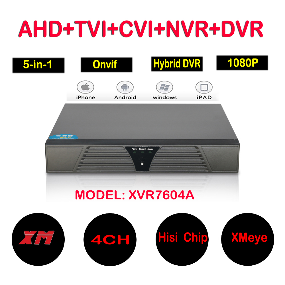 4CH AHD DVR 1080N Video Recorder 5 in 1 4 Channel Hybrid DVR NVR HVR For AHD IP Analog TVI CVI Camera with 4/1 Audio Xmeye App 4 ch channel 720p ahd 7inch lcd hybrid hvr nvr cctv dvr recorder support ahd analog ip camera mobile phone viewing