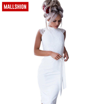 MALLSHION White Lace Dress Women Elegant Summer Party Dresses 2018 Spring Vintage Sleevess Sexy Ladies Dresses Vestidos